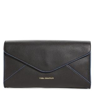 Vera Bradley $148 Harper Black Leather Clutch Bag